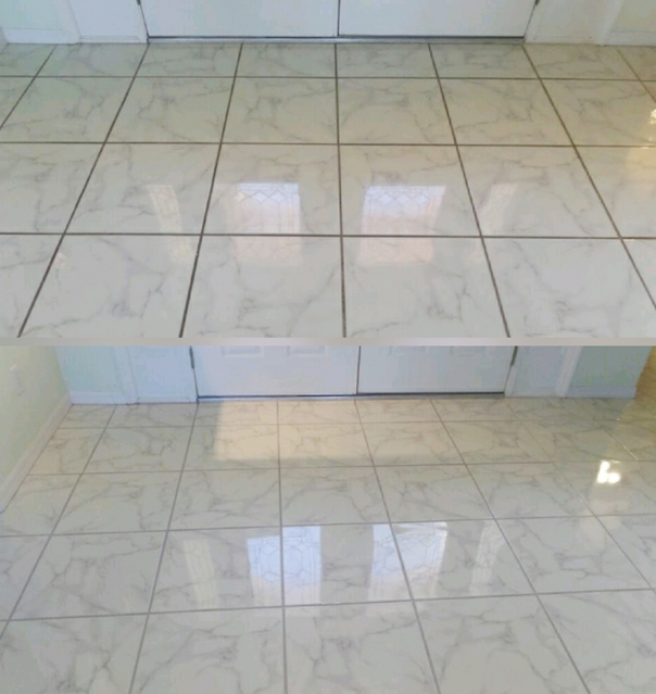 Steam Masters before and after tile and grout cleaning photo