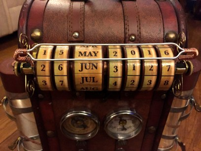 Steampunk Time Machine backpack date dial.
