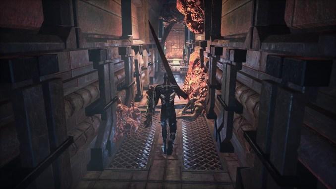 Hellpoint – Das Bild zeigt den Hauptcharakter mit einer fetten Waffe auf der Schulter