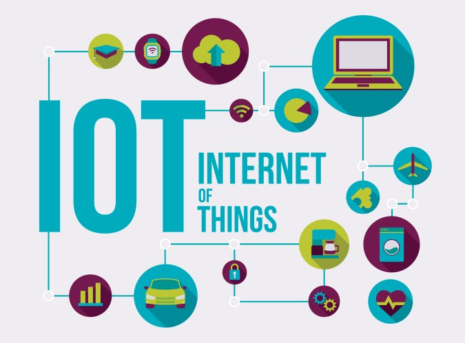 Internet of Things vector illustration, future of the connected devices and applications over global network IOT.