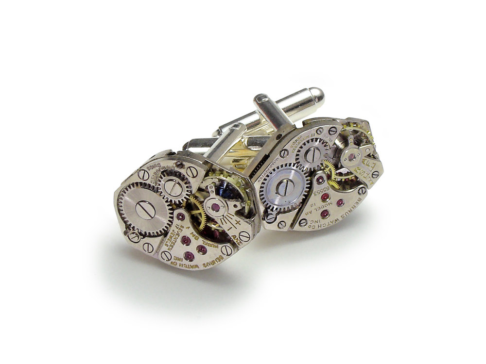 Ruby Wedding Gifts For Men: Steampunk Cuff Links Benrus Watch Movements Ruby Jewel
