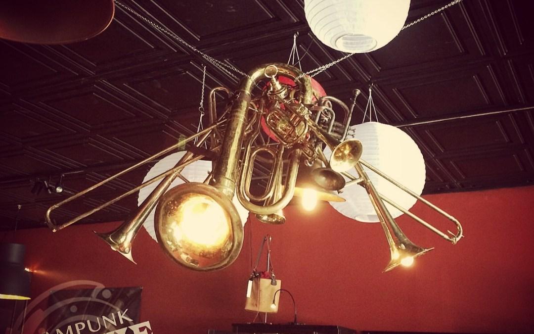 Steampunk Venue Inspiration with Brass Chandelier