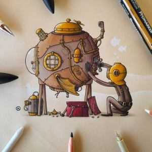 Submarine steampunk