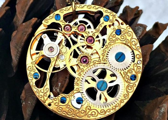 Antique Steampunk Necklace, Vintage Rotary Watch Movement Necklace, Watch Necklace, Neo Victorian Jewelry,Steampunk Jewelry,Steampunk Gifts 1