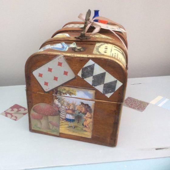 Steampunk inspired Alice in Wonderland jewellery box, trinket box. 3