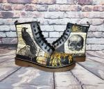 Steampunk Raven Skull Design Boots.