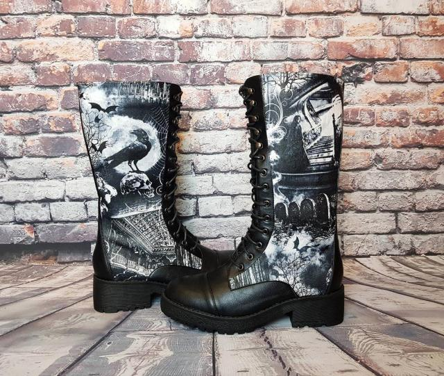 Halloween, Gothic boots, goth shoes, women boots, alternative, clothing, skull shoe, rock your sole, customized, creepy cute, spooky, bats