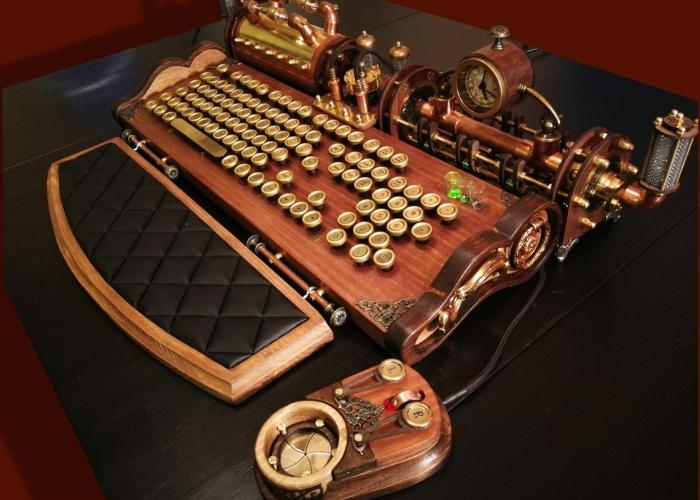 Set-of-steampunk-neo-victorian-antique-look-keyboard-mouse-and-USB-lights