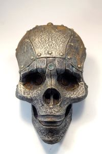 SKOKO. Robot skull mask. Steampunk face wall art. Post-apocalyptic sculpture old prop. Handmade piece by Tomàs Barceló. 2