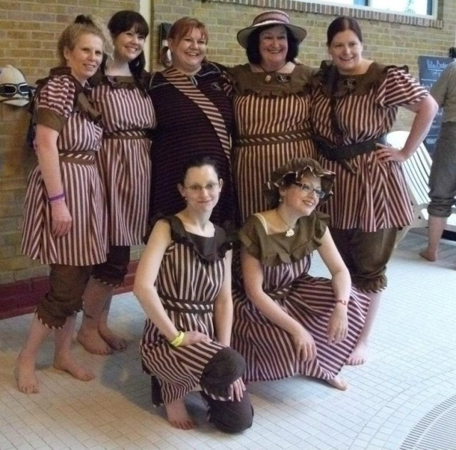 A group of women wearing  Steampunk Victorian Bathing Costume Swimsuit.​