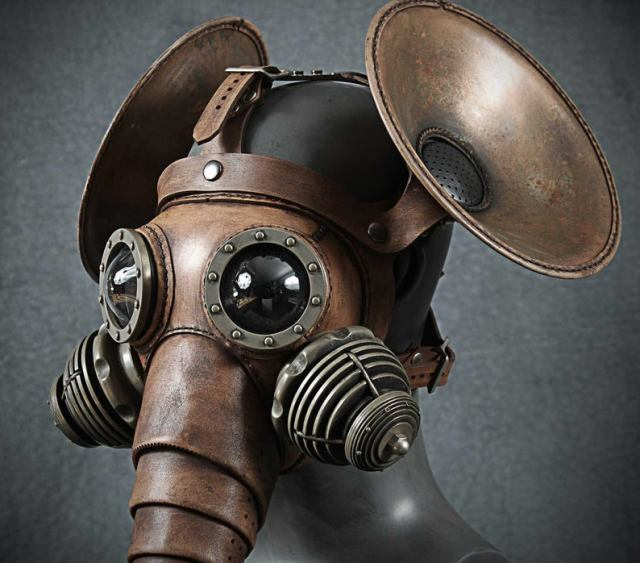 Pachydermous Leather mask with copper ears 3