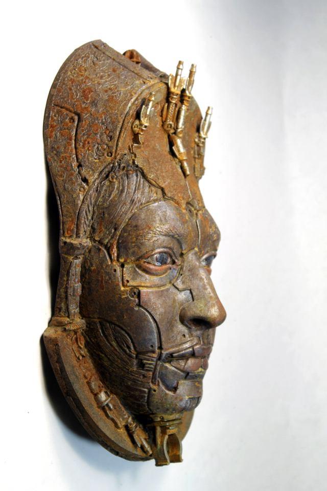ALBERICH II. Rusted robot portrait wall art. Steampunk sculpture handmade by Tomàs Barceló. 3