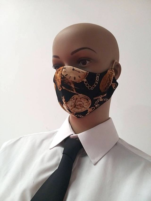 """Steampunk Clock Watch Design Facemask. From A collection of """"steampunk design"""" Face masks."""
