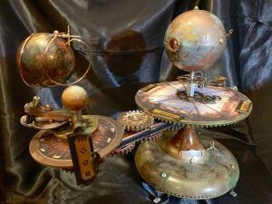 Jules Verne Steampunk Inspired Tellurian Orrery Solar System Orbiter Model 4