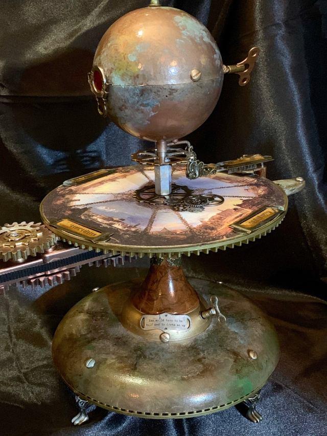 Jules Verne Steampunk Inspired Tellurian Orrery Solar System Orbiter Model 5
