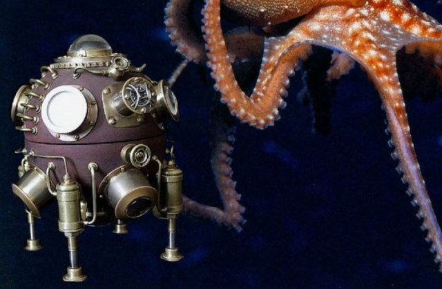 "Steampunk Lamp ""Batisfera"" Submarine Diving Bell. feather"