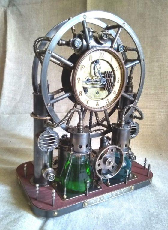Steampunk,steam-mechanical chronometer Time Machine. Steampunk universal desktop-wall clock. 3