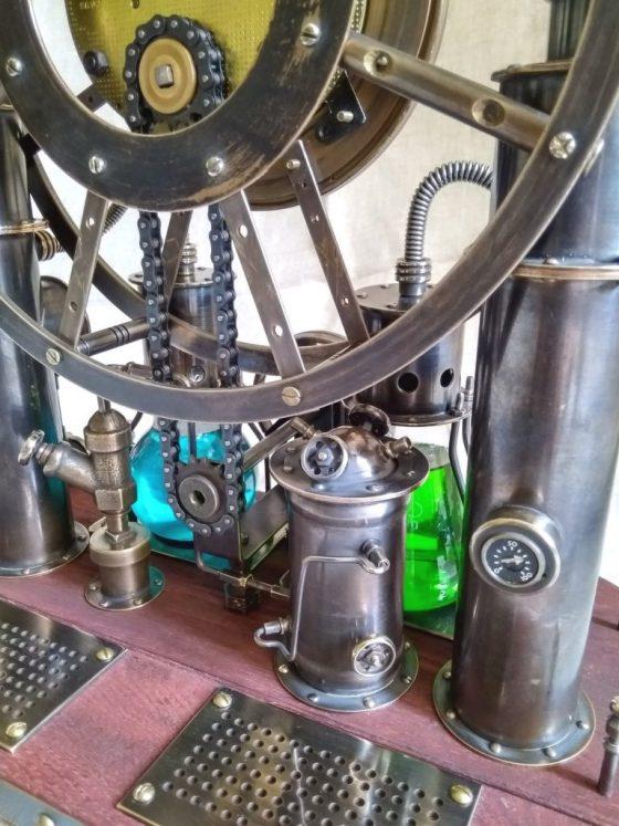 Steampunk,steam-mechanical chronometer Time Machine. Steampunk universal desktop-wall clock. 4