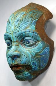 TURQUOISE TEO'S MASK. Based on Francesc Grimalt's character. Wall sculpture in resin by Tomas Barcelo. 1