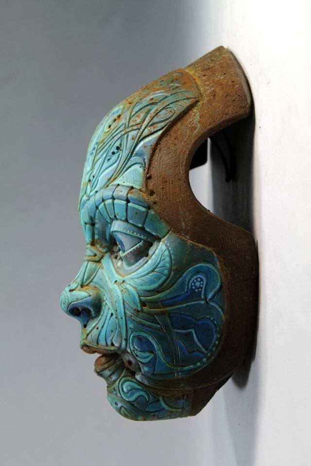 TURQUOISE TEO'S MASK. Based on Francesc Grimalt's character. Wall sculpture in resin by Tomas Barcelo. 4