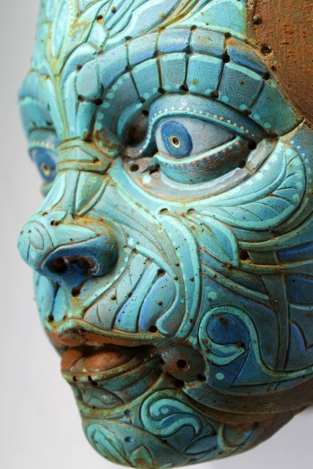 TURQUOISE TEO'S MASK. Based on Francesc Grimalt's character. Wall sculpture in resin by Tomas Barcelo. 5