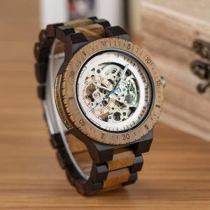 Wooden Steampunk Skeleton Wristwatch Watch. 3