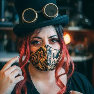Face Mask Steampunk , two layers unwoven fabric with pocket for filter, waterproof fabric washable