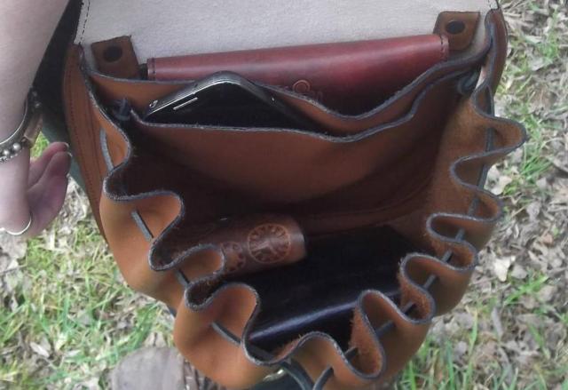 Steampunk Design Decorated Leather Cross Bag/Purse. 2