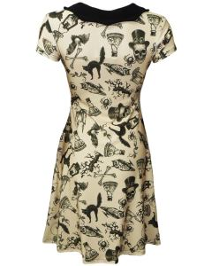 Spooky Steampunk Print Style Dress. back