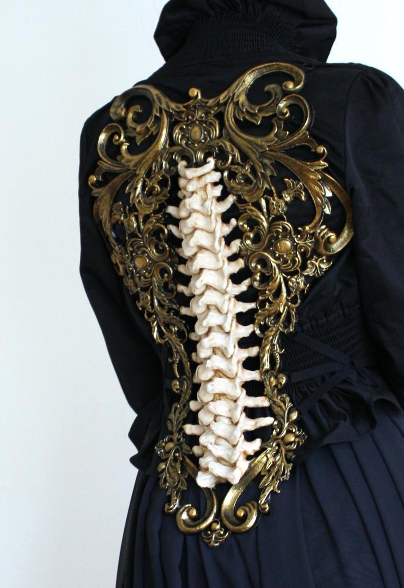 Gold & Bone Spine Metallic Latex Rubber Filigree Back Piece Armour Harness Steampunk Gothic Fantasy Skeleton 2