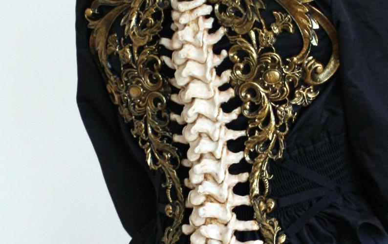 Gold & Bone Spine Metallic Latex Rubber Filigree Back Piece Armour Harness Steampunk Gothic Fantasy Skeleton 2