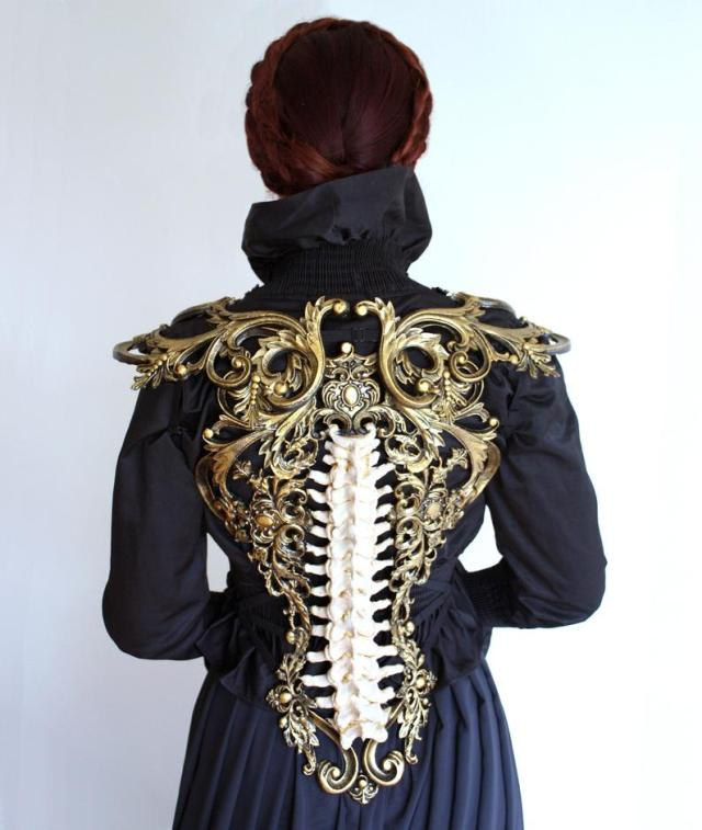 Gold & Bone Spine Metallic Latex Rubber Filigree Back Piece Armour Harness Steampunk Gothic Fantasy Skeleton 3