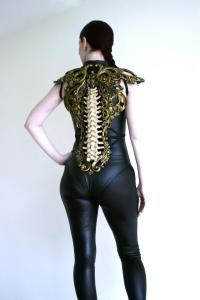 Gold & Bone Spine Metallic Latex Rubber Filigree Back Piece Armour Harness Steampunk Gothic Fantasy Skeleton 4