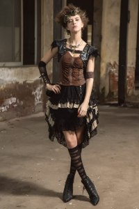 HaoLin Steampunk Victorian Gothic Lace Skirt Pirate Renaissance Costume With Fanny Pack 1