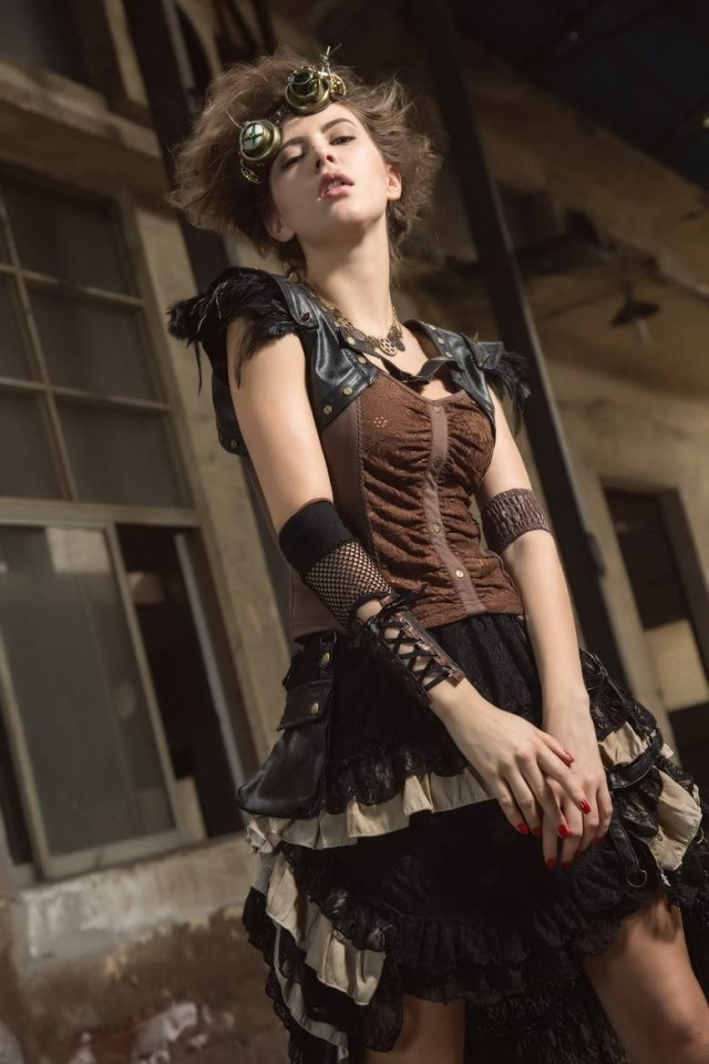 HaoLin Steampunk Victorian Gothic Lace Skirt Pirate Renaissance Costume With Fanny Pack 3