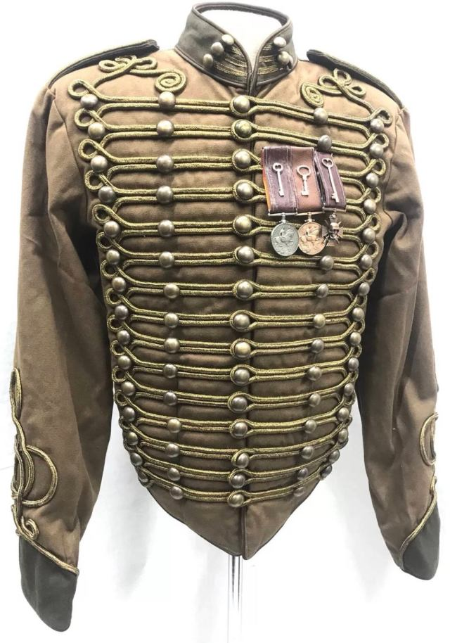 Officer's outfit with detachable steampunk style metal medals in a row of three contrast browns leather-look ribbons and With Antique gold cord Braiding.