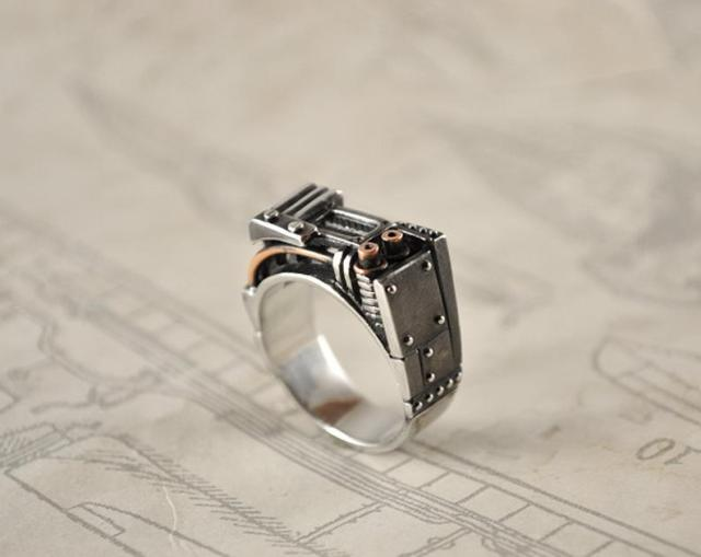 Steampunk Industrial Silver Ring.