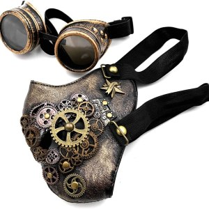 Gothic Retro Steampunk Gear Face Mask Cosplay Costume Party Gold Masquerade (Mask with Goggles)