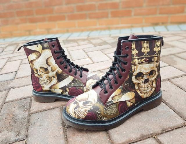 "Men boots, gothic men, skulls men shoes, gift for him, fathers day gift, rock your sole, halloween, goth boots, skulls, boots, tattoo gift  Steampunk Themed Boots from ""Rock Your Sole""."