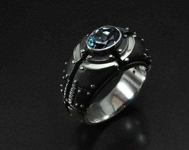 "Mens ring blue topaz ""Piorundum"" | Mens engagement silver ring | Chunky topaz birthstone mens ring | Silver signet custom gemstone ring  1"