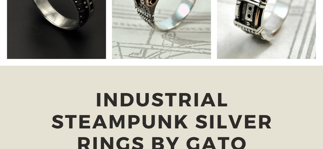 Industrial Steampunk Silver Rings by Gato Jewel.