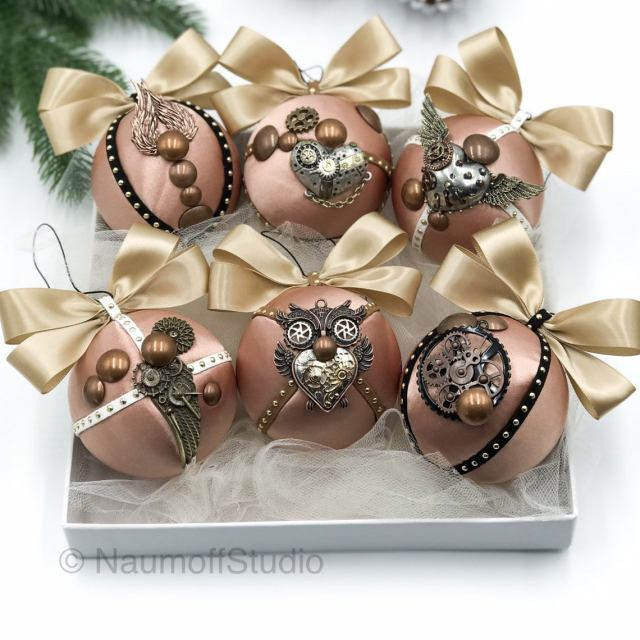 Steampunk Christmas Ornaments, Steampunk Decor, Steampunk Art, Industrial Decor, Vintage Looking Christmas Ornaments