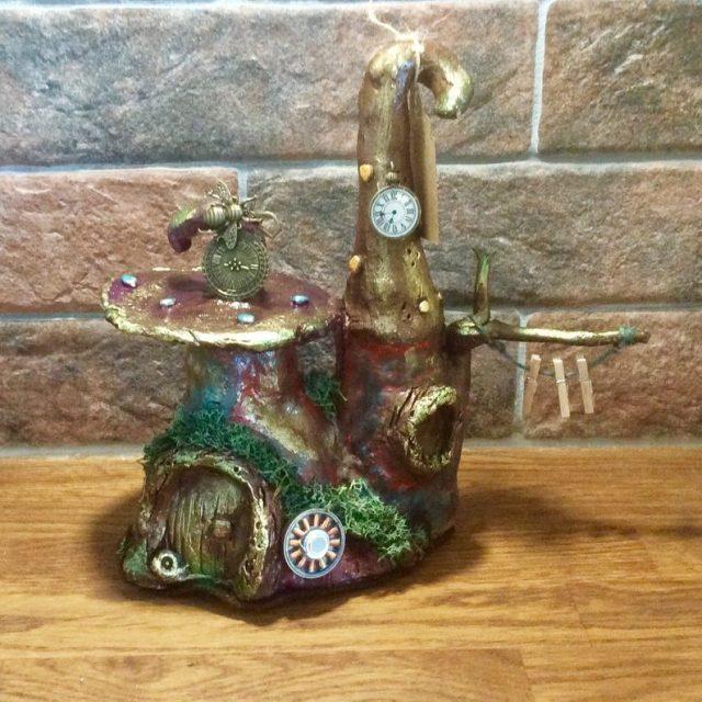 "Steampunk fairy house, polymer clay hand sculpted 9"" fairy house, woodland garden, steampunk decoration, gift idea"