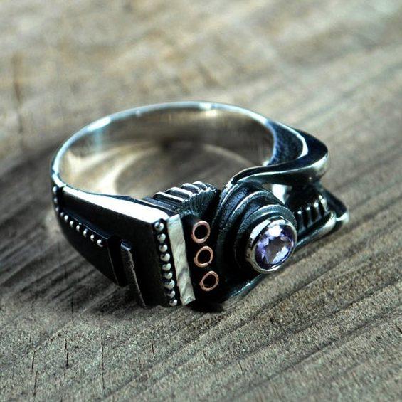 "Sterling silver steampunk carnelian ring ""Spiralemus"" | Contemporary modern unconventional statement ring | Unusual statement ring"