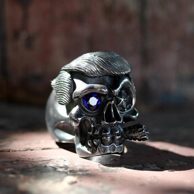 Donald Trump Skull Ring Men Cigar By Deific. Limited Edition 1 Of 2, Sterling Silver Skull Mens Ring, Custom Ring, Biker Ring, Gothic Ring  2