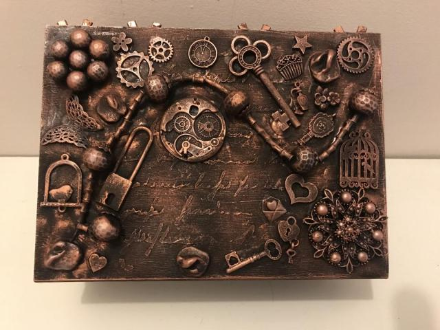 Mixed media decorated jewellery box, decorated jewellery box, steampunk jewellery box, gothic jewellery box, vintage decorated jewellery box  4