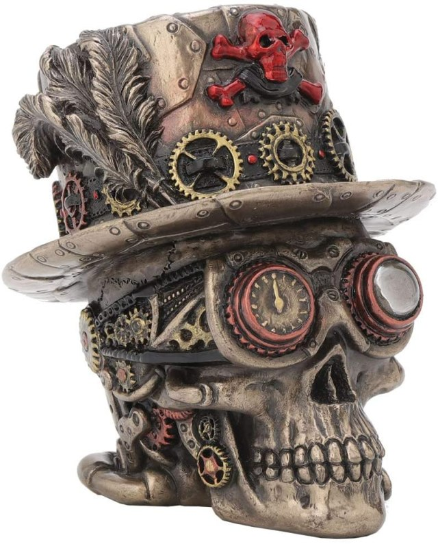 Nemesis Now Steampunk Clockwork Baron Skull Figurine Ornament, Bronze