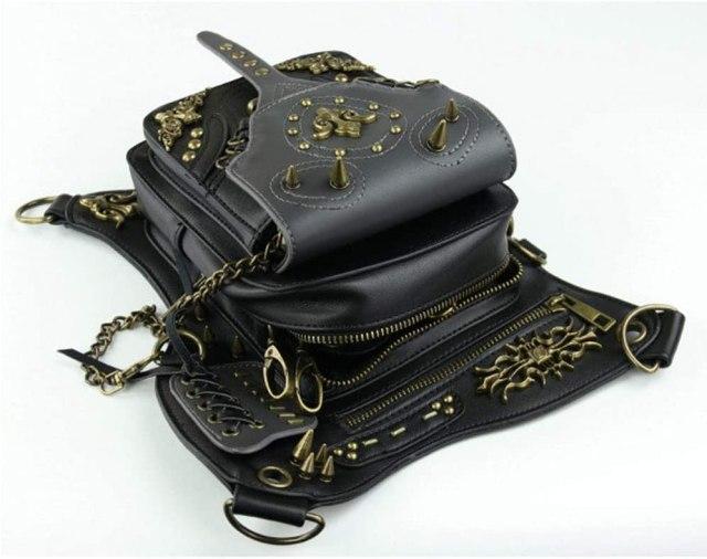 Steampunk Leather Crossbody Shoulder Tote Handbag Messenger Gothic Waist Bag Fanny Pack Motorcycle Drop Leg Bag Hip Holster Belt Purse Pouch Chain Travel Wallet for Women Men  4