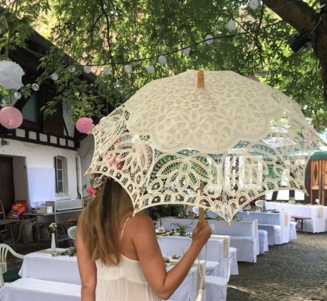 VON LILIENFELD® Lace Bridal Wedding Umbrella Parasol Woman Vivienne, Creme 2