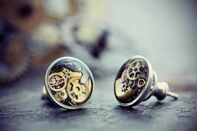 Watch Part Earrings Steampunk Jewelry Studs Sterling Silver Resin Clock Gears Gift For Her Gothic Clothing Victorian Costume  1